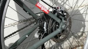 Scheibenbremse mit Abschaltkontakt am Navy-Bike mit Senglarantrieb