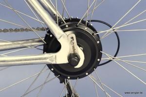 Wie immer: Der kleine und leistungsstarke Senglarmotor im Hinterrad