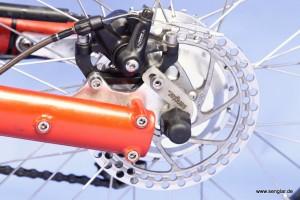 Die sehr stabile Hinterradschwinge des Scooterbike ist perfekt für den Umbau geeignet