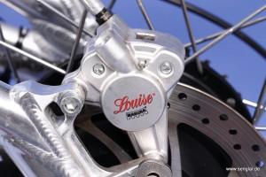 Alles glänzt: Auch der alufarbene Bremssattel an der Aluschwinge trägt zur guten Optik bei