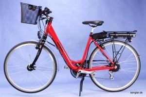 Das Senglar City-Pedelec 2014 in Rot mit kompletter Ausstattung