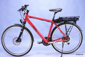 ... das Senglar-Pedelec Trekking in Rot als Herrenrad (hier mit Gepäckträgerakku)!