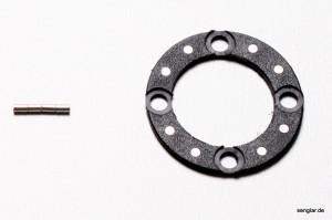 Die Magnetscheibe Typ 4 und vier zusätzliche Magnete zum Einsetzen in die Schraubenköpfe