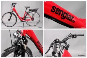 Senglar City-Pedelec, Rot glänzend, Rock Shox Paragon-Federgabel